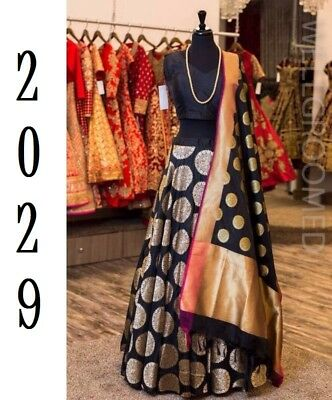 New Designer Banarasi Jequard Partywear Lehenga with Cotton Inner