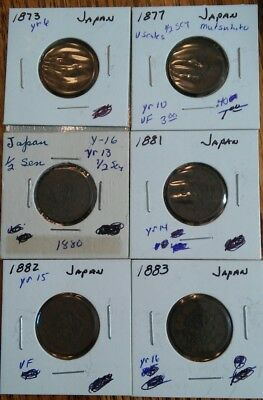 Japan Coin Lot Of 6 1/2 SEN 1873, 1877 W/V-Scales, 1880, 1881, 1882, 1883