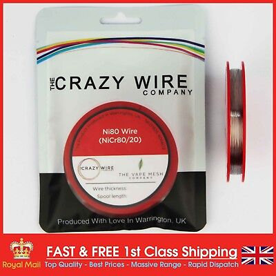 34AWG (0.16mm) Nichrome (Ni80) Resistance Wire 33ft Spool by Crazy Wire Co
