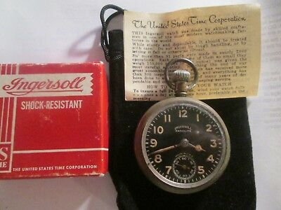 1920s 16S Ingersoll Pocket Watch Ford Ad Theme Case Runs.