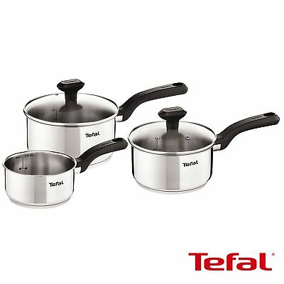 Tefal Comfort Max Saucepan Set, 3 Pieces - Induction Compatible, Stainless Steel