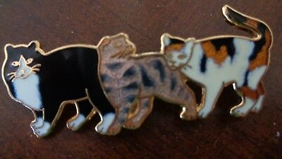 Trio Cats Kittens Enamel Pin Brooch Tiger Cat Black & White and Multi Colored