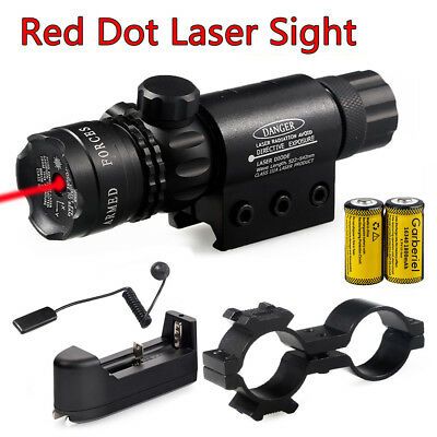 Tactical Red Dot Laser Sight Rifle Gun Scope Rail Remote Switch Mount+Battery US