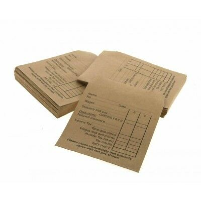 50 100 200 250 Wage Envelopes Cash Earnings Packet Self Seal Pay Printed Money