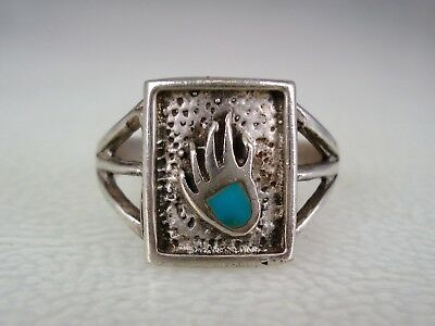 OLD Tully Kee NAVAJO STERLING SILVER & FLUSH SET TURQUOISE BEAR PAW RING size 10