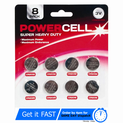 Power Cell 8 Pack Assorted Button Cell Batteries CR2032/CR2025/CR2016 - New