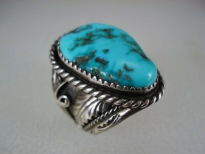 BIG FABULOUS OLD NAVAJO STERLING SILVER & BLUE GREEN TURQUOISE RING size 10