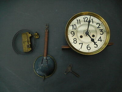 Antique Junghans Clock Movement, Face, Pendulum, Gong and Key