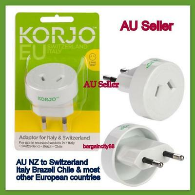 Power Plug Adapter AU AUS to EU EURO Brazil Italy Travel Charger Converter-Korjo