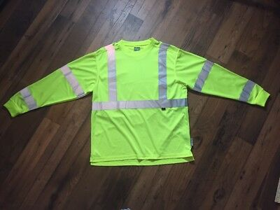 Mens Wolverine Neon Safety Work Shirts Sz Large High Visibility Reflective