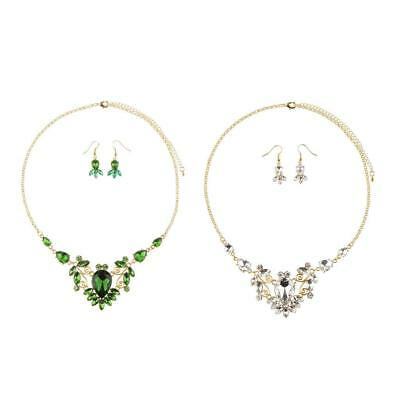 Teardrop Rhinestone Wedding Bridal Crystal Jewelry Set Necklace Earrings