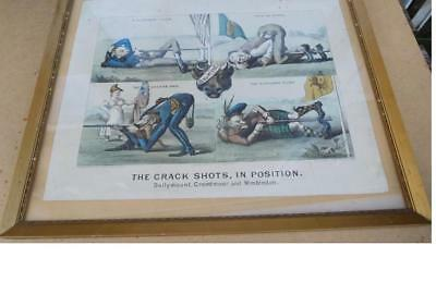 Rare original 1875 lithograph Crack Shots in Position Vergnes Shooting Military