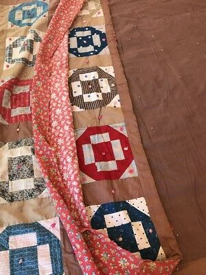Antique Quilt Patchwork 1800's Yarn Tied GRECIAN SQUARE GREEK CROSS Twin Cotton