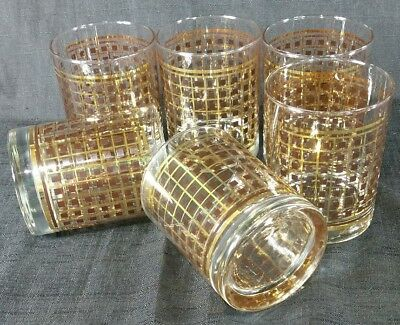 Set of 6 Georges Briard Signed Old Fashioned Low Ball Glasses  Gold Brown Square