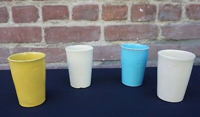 Catalina Pottery Set of Four Tumblers Cups - Yellow, Blue, and White 35A-DA