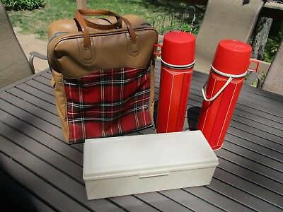 Vintage King Seeley Red Plaid Thermos Bottle4 Piece Picnic Set