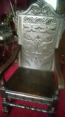 19th century Victorian Antique Gothic Carved Oak Wainscot Chair as seen in G.O.T