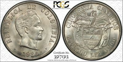 1934 Colombia Silver 50 Centavos - PCGS MS65 - Bright White! San Francisco Mint