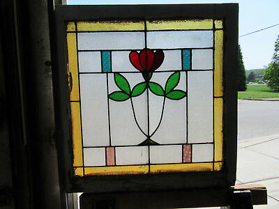 ~ ANTIQUE AMERICAN STAINED GLASS WINDOW ~ 28 x 29 ~ ARCHITECTURAL SALVAGE