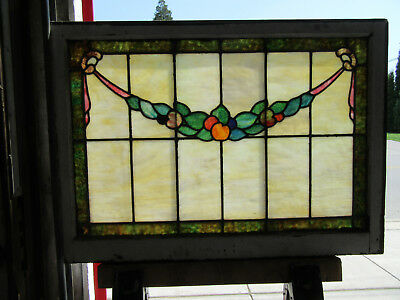 ~ Antique American Stained Glass Window Fruit ~ 40 X 29 ~ Architectural Salvage