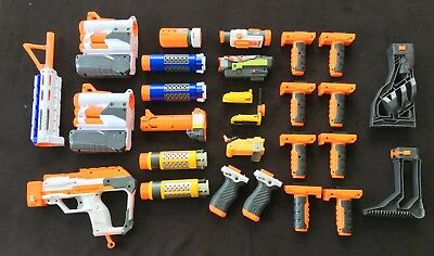 Huge Nerf Accessories Lot, 27 pieces, Grips, Barrels, Stocks, Scopes