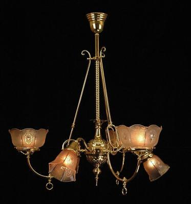Circa 1890'S Original Victorian Gas & Electric Polished Brass Chandelier