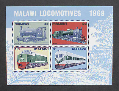 Malawi 1968 Locomotives MS304 MS train railway Mint