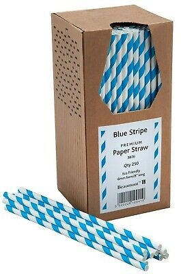 """8"""" Blue & White Striped Paper Drinking Straws Pubs Clubs in Boxes of 250 NEW!!!"""