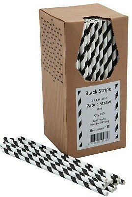 """8"""" Black & White Striped Paper Drinking Straws Pubs Clubs in Boxes of 250 NEW!!!"""