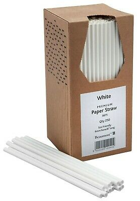"""8"""" White Paper Drinking Straws Pubs Clubs in Boxes of 250   Biodegradable NEW!!!"""