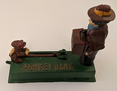 Vintage Mechanical Coin Bank - Monkey Bank - Cast Iron - Works
