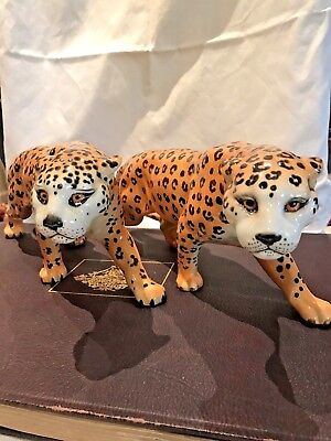 A pair of Large Vintage Beswick Leopards Hand Painted