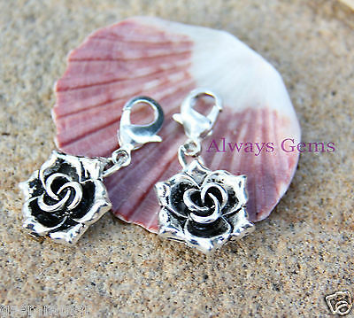 Rose Blossom Flower Nice silver tone Charm Clip on Zipper pull charm  new