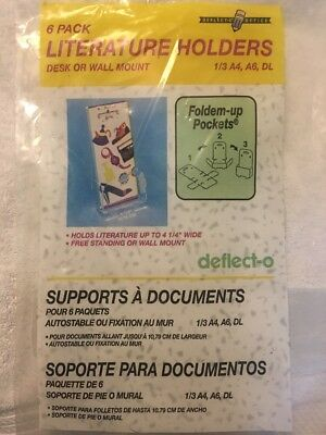 (3)pks 6 Clear Deflecto Foldem Up Pockets Literature Holders Desk Or Wall Mount
