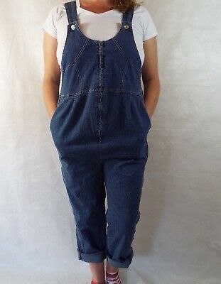 Maternity Dungarees Size 16 L26 Denim Overalls Blue Jumpsuit Overalls Xl Stretch
