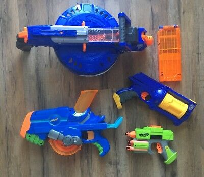 NERF Gun Lot, 1 NStrike Maverick Rev 6 1 Buzzsaw 1 Hail Fire With Clip And Darts