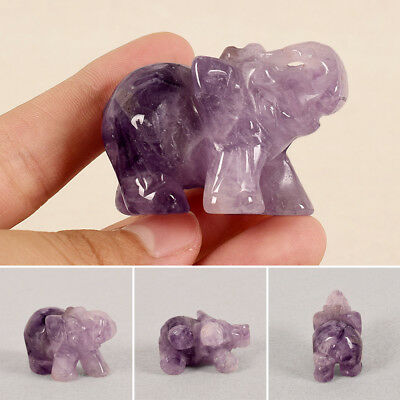 "1.5"" Natural Amethyst Crystal Carved Elephant Stone Statue Feng Shui Figurines"
