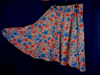 Woman Within Floral Linen Blend Elastic Waist A-Line Skirt Size 1X 18/20