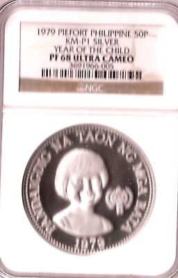 Philippines 50 Piso 1979 Silver Piefort Year Of Child
