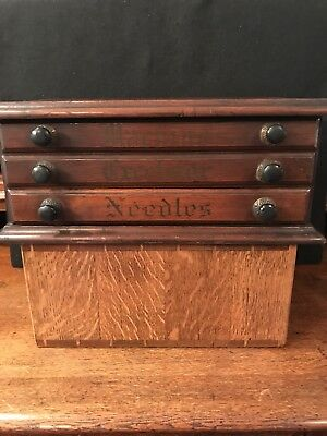 Antique Country Store Walnut Three Drawer Needle Cabinet L@@k