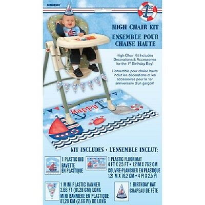 Nautical 1st Birthday High Chair Kit Banner Bib Mat Party Hat Whale Decoration