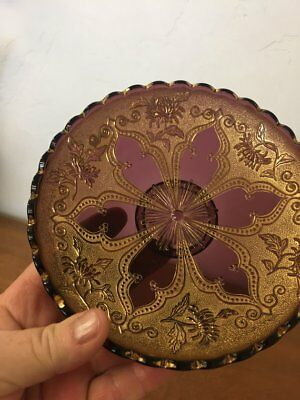 Antique Amethyst Glass and Gold Gilded Small Tray