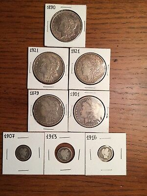 Morgan Dollars 1921,1890,1879,1901,1921 + 3 Barber Dimes Collection Lot