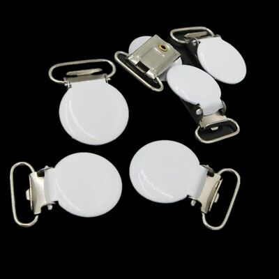 10Pcs White Round Suspender Pacifier Holder Webbing Ribbon Mitten Clip Hook