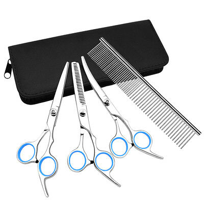 """Pet Cat Dog Scissors Comb Trimmers Straight&Curved&Thinning Shears Kit 6.5""""-7"""""""