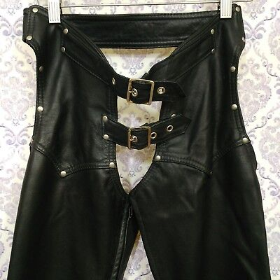 Womens Black Leather Motorcycle Chaps Sz Small Studded Buckle Zipper Legs Lined