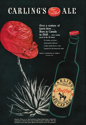 1947 Carling's Red Cap Ale: Over a Century of Know How Vintage Print Ad