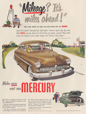 1949 Ford Mercury: Mileage Its Miles Ahead Vintage Print Ad