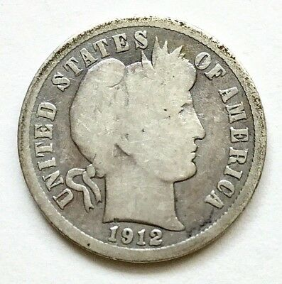 1912  10c Barber Dime SILVER coin