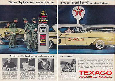 1958 Texaco: Sky Chief Supreme with Petrox, Tom McCahill Vintage Print Ad